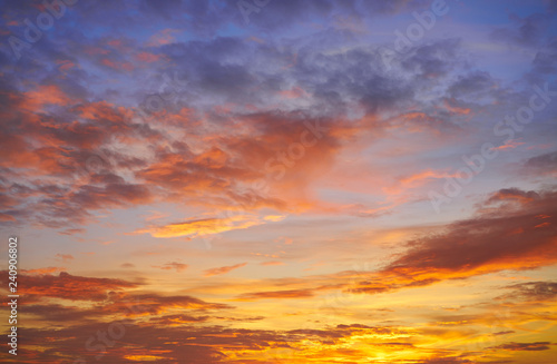 plakat Sunset sky clouds orange and blue