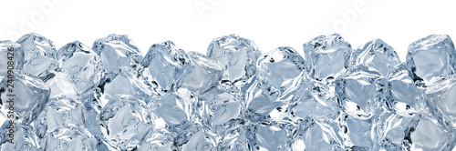 Fotografie, Obraz  Melted clear ice cubes pile isolated on white background