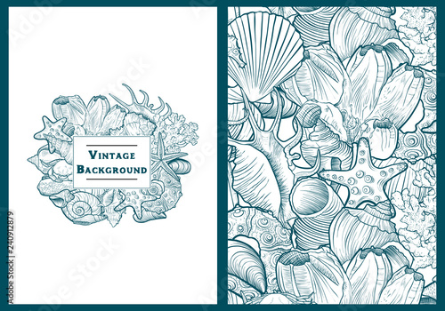 vector backgrounds with seashells Canvas Print