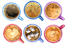 Top View Of Coffee Cups