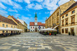 Varazdin old town square. / Scenic view at famous tourist resort in Croatia, former capital town Varazdin and historical center.