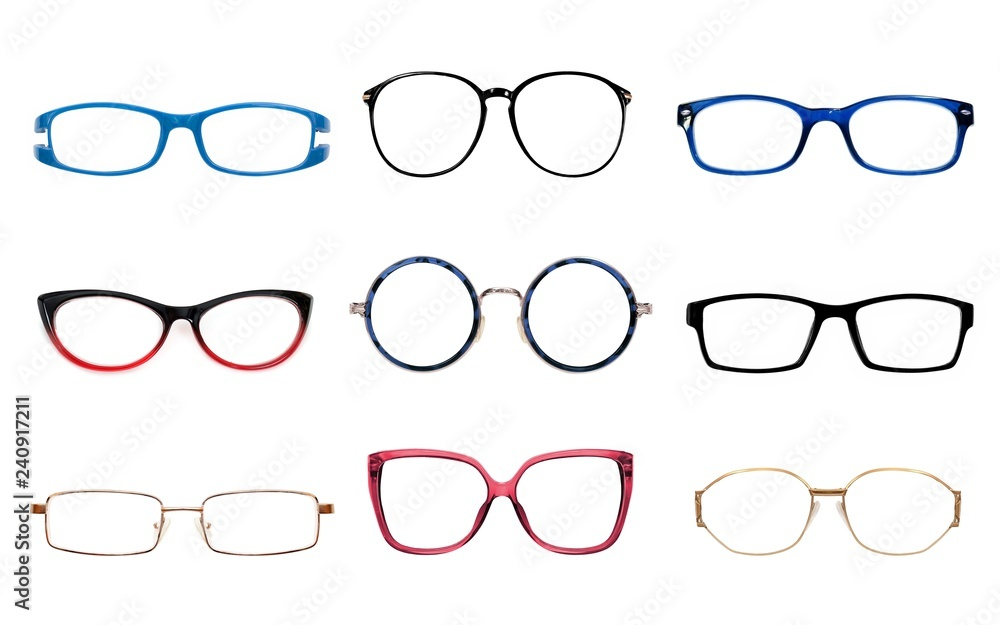 Fototapety, obrazy: Glasses isolated on white background for applying on a portrait