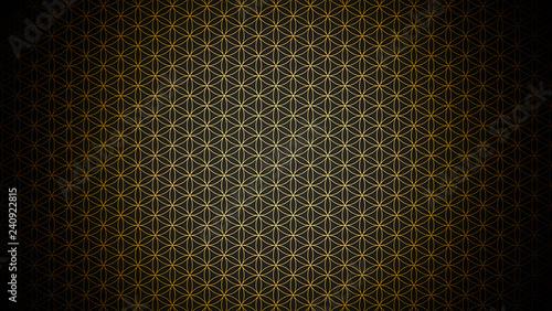 Photo  3D Illustration - genesis pattern - the flower of life gold black