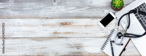 Fotografie, Obraz  Overhead view of white rustic desk with for medical care purposes