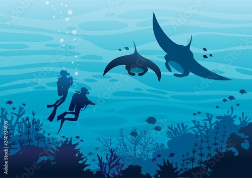 Obraz na plátne Scuba divers, mantas, coral reef, fishes