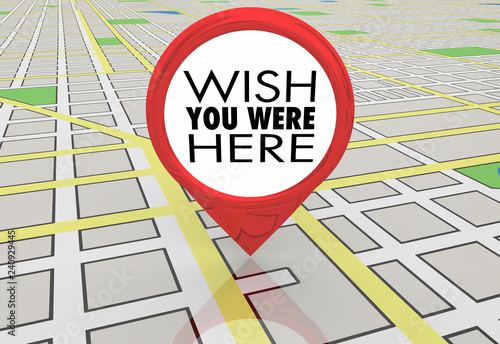 Photo  Wish You Were Here Travel Map Pin Location Directions 3d Illustration