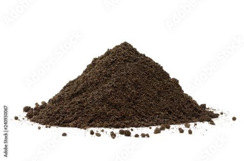 Fotografija Pile or heap of Soil Isolated on White Background