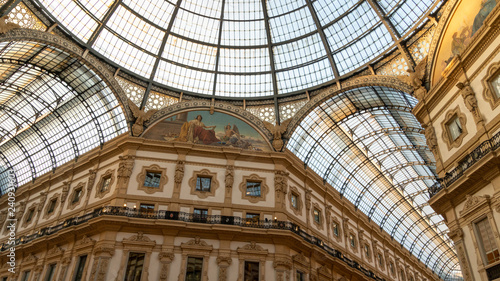 Spoed Fotobehang Milan The ceiling of Galleria Vittorio Emanuele from its center, with luxury decorations and the 19th century roof