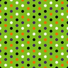 Halloween Polka Dots Seamless Pattern - Black, Orange, Purple, And White Dots On Green Background