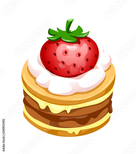 Valokuva vector illustration of biscuit cake with strawberries and cream
