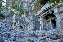 Ancient Lycian Rock Tombs In Pinara, Fethiye, Turkey