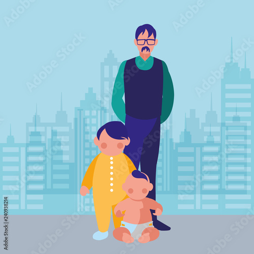 Fototapety, obrazy: Old man and baby design