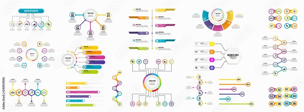 Fototapeta Set of Infographics Elements Data Visualization Template Design Vector Editable
