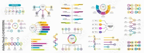 Photo Set of Infographics Elements Data Visualization Template Design Vector Editable