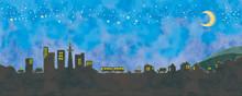 街並みと星空のイラスト