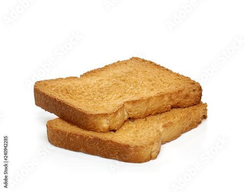 Fotografiet Crispy rusk or crisp bread on white background