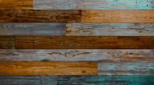 Vintage Horizontal Wood Textured Background With Brown And Blue. Wooden Planks On A Wall Or Floor With Grain And Texture.