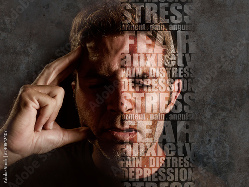 Stampa su Tela  depression composite with words like pain and anxiety composed into face of youn