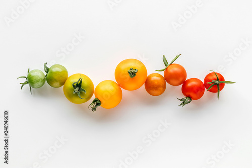 Colorful organic cherry tomatoes on a white background, Holland cherry tomato Canvas-taulu