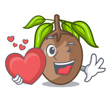 With Heart Sapodilla Fruit Cut In Shape Cartoon