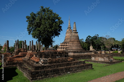 Fotografie, Obraz  Sukhothai historical park the old town of Thailand Ancient Buddha Statue at Wat