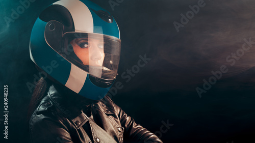Fotografie, Tablou Biker Woman with Helmet and Leather Outfit Portrait