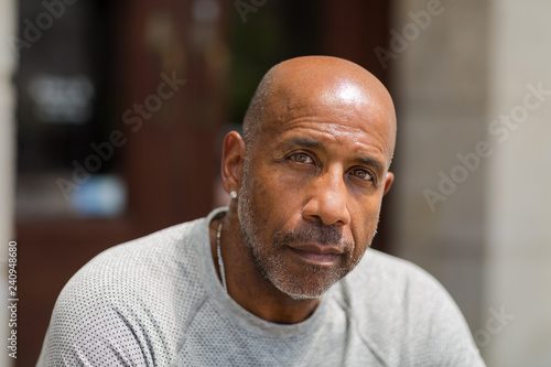Fotografiet  African American man with a concerned look.