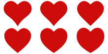 Set Red Shape Heart Icon, Vect...