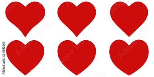 Set red shape heart icon, vector set heart shape, lovers on Valentines day