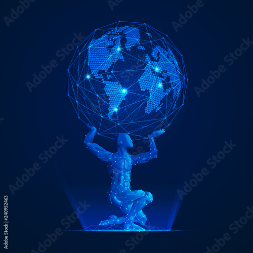 Photo wireframe polygon man carrying globe in futuristic style, graphic of atlas in mo