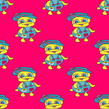 Ducks On A Pink Background Seamless Bright Pattern