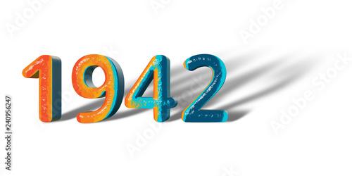 Photo  3D Number Year 1942 joyful hopeful colors and white background