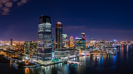 Fototapeta Nowy York Aerial panorama of Jersey City skyline at night