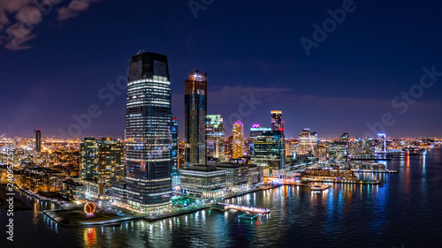 Aerial panorama of Jersey City skyline at night