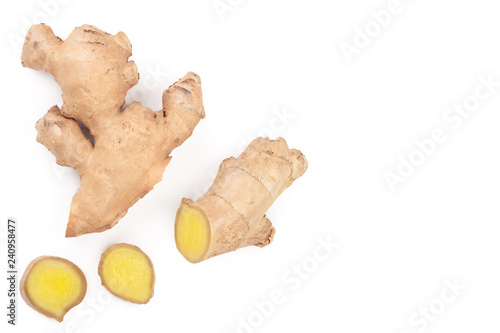 Obraz na plátně fresh Ginger root and slice isolated on white background with copy space for your text