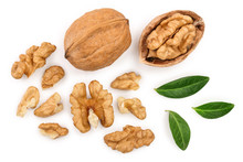 Walnuts With Leaf Isolated On White Background. Top View. Flat Lay