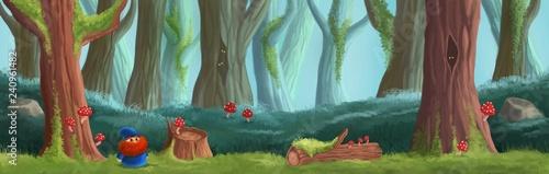 Magic forest game location. Platform game design