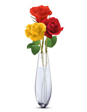 Colored Roses In A Glass Vase,...