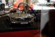 Klassische Automobile Lenkrad und Klassiker im Hintergrund