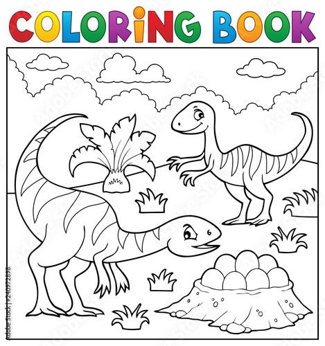 Coloring book dinosaur subject image 2