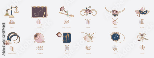 Photo Horoscope symbols in feminine style, zodiac signs