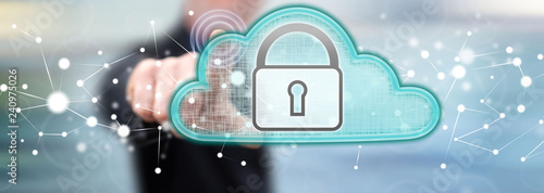 Man touching a cloud security concept