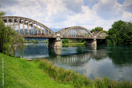 paesaggio sul fiume Adda - parco Adda nord Canvas Print