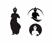 Silhouette Of Traditional India Dance Vector Illustration
