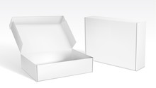 Realistic Open And Closed Blank Packaging Boxes