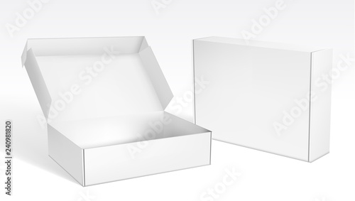 Realistic Open And Closed Blank Packaging Boxes Fototapeta