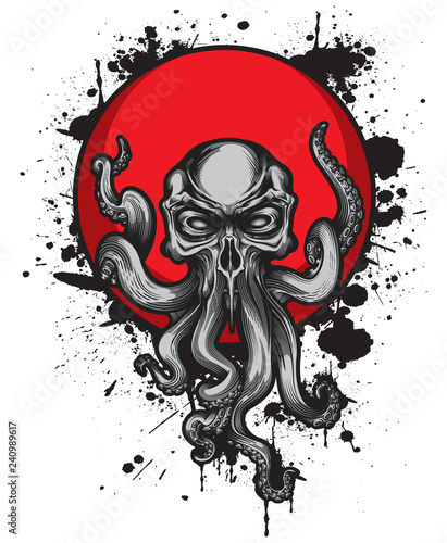 Платно Cthulhu creature with skull head on red circle label with black ink splashes