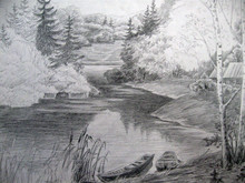 Landscape With River And Boat - Black White Drawing