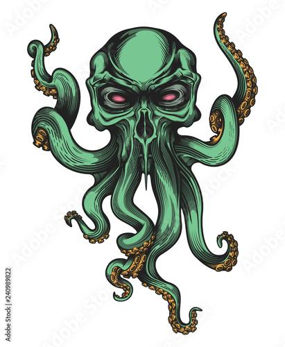 Obraz na plátně Evil skull-octopus mascot in engraving technique