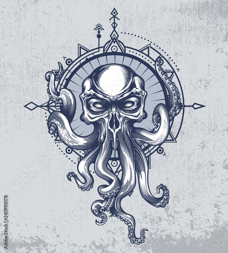 Fotografie, Obraz The Kraken creature with skull head on grunge background and wind rose in boho style
